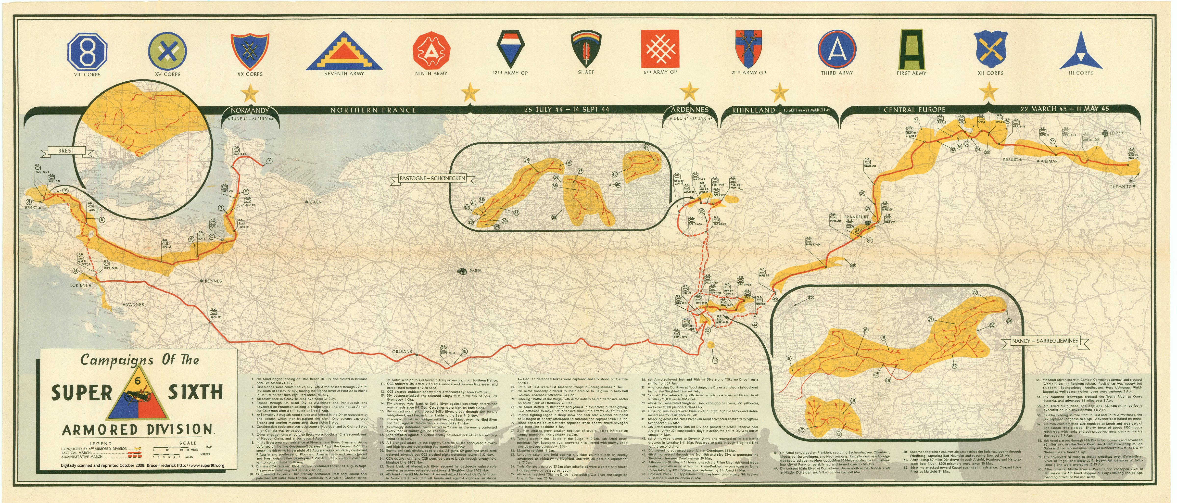 6th Armored Division Campaign Map on